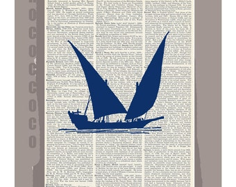 Antique Sail Boat SILHOUETTE4- ORIGINAL ARTWORK  printed on Repurposed Vintage Dictionary page -Upcycled Book Print