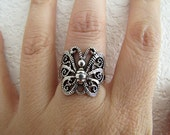 Sterling Silver filgiree Butterfly Ring, size 6, thick and sturdy