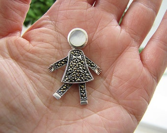 Movable Girl Marcasite Sterling Silver Pendant with mother of pearl