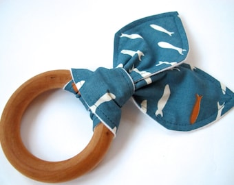 Organic Wooden Teething Ring With Cotton Bunny Ears - Organic Blue Fish Fabric - Organic Flannel