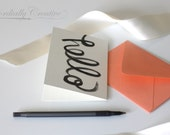"""Hello Note Card Set of 5 with coral envelopes, featuring my hand painted """"hello"""" watercolor illustration in black, great and unique gift"""