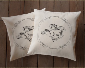 """Horse Decorative Pillow covers """" The Stallion"""" 16x16 inch decorative pillow sham (set of 2)"""