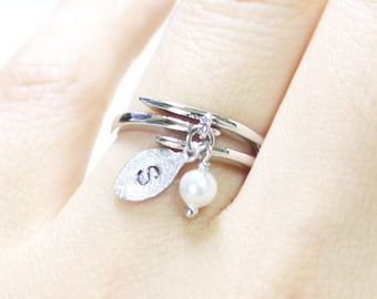 White Pearl with personalized initial silver leaf Ring - S4342-1 Adjustable Free Size Wrap Ring