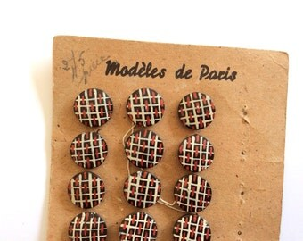 6 Hand Painted Wooden Buttons, Vintage, Checked, Tartan, French Buttons