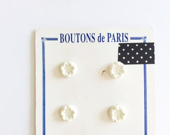4 White Shank Buttons, French Buttons, White Buttons, Vintage