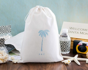 Destination Wedding Welcome Bags - Palm Tree Welcome bags - Tropical Wedding Favors - 8 x 12
