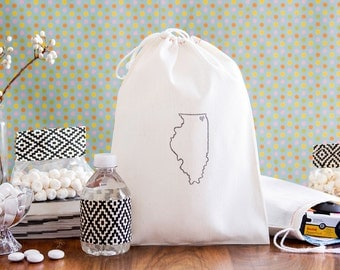 Illinois Wedding Favor - Chicago Wedding Welcome Bags - Chicago Wedding - Chicago Wedding Favors - State Outline Wedding Welcome Bags