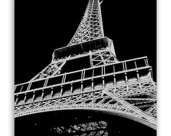 "Paris Decor, Eiffel Tower, Eiffel Silhouette, modern Paris art, Paris Photography, Eiffel Decor - ""Digital Eiffel"" - B&W Fine Art Photograph"