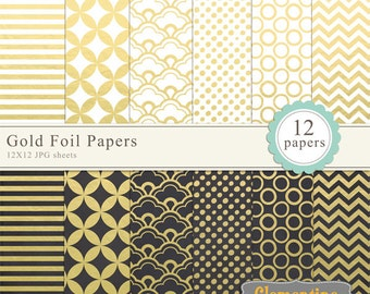 Gold foil digital papers, digital scrapbooking paper, royalty free commercial use- Instant Download