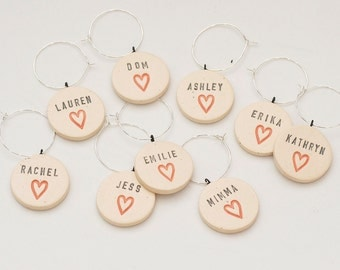 Modern Heart Personalized Ceramic Wine Glass Charms - Vineyard Wedding and Bachelorette