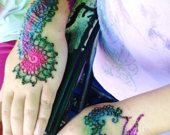 Henna Tattoo and Glitter Tattoo Kit with Jewel Embellishments Temporary Tattoo DIY