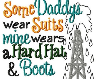 Instant Download Dad  Wears Hard Hat Machine Embroidery File - Handmade embroidery design - Machine Embroidery Design - Digital Design
