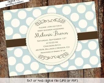 baby boy shower invitation birth announcement polka dots baby blessing birthday baptism sprinkle diaper (item 1244) shabby chic invitations