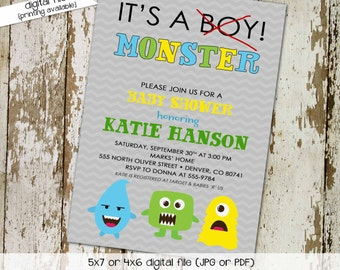 monster baby shower invitations boy twin chevron it's a monster gender reveal neutral sprinkle couples (item 1279) shabby chic invitations