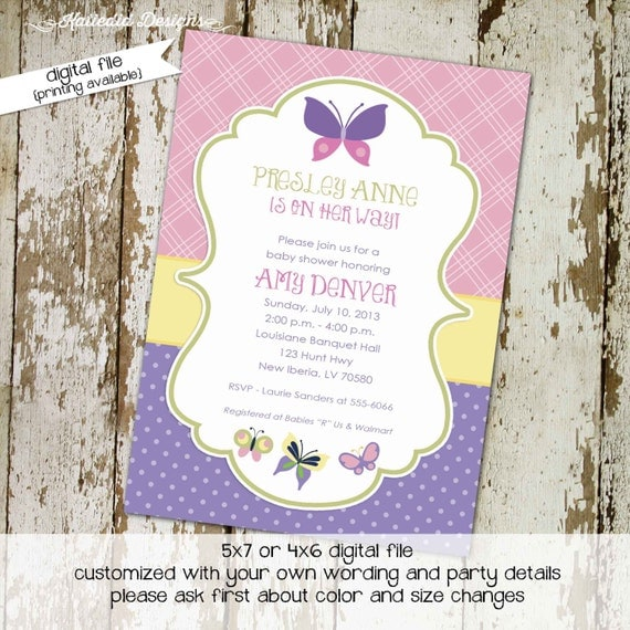 butterfly baby shower invitation girl sprinkle couples diaper birthday baptism baby blessing evite coed (item 1357) shabby chic invitations