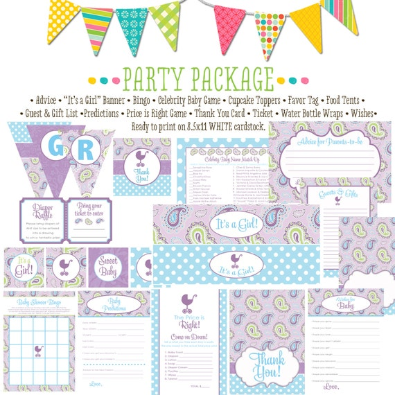 Paisley purple and blue item 1371 package AS IS Matching games, ticket, banner, bingo, thank you card, water bottle wraps, cupcake toppers
