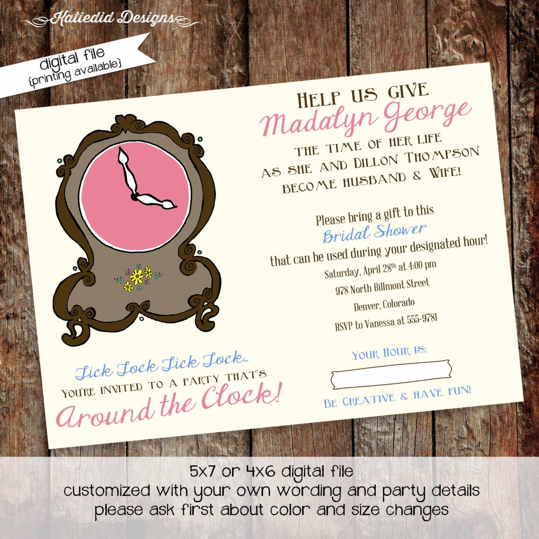 around the clock bridal shower invitation baby shower invitation – Around the Clock Wedding Shower Invitations