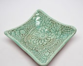 Lace Textured Blue Square Stoneware Jewelry or Catch-All Dish, Soap or Sponge Dish, Salsa or Dip server