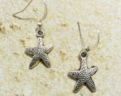 Starfish Earrings, Sea Star Earrings, Small Sea Shell Earrings, Silver Tone Earrings, Beach Jewelry, Matching Set, Sailing Jewelry,