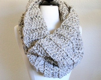Cream Oversized Scarf, Crochet Infinity Scarf, Hand Knit Cowl Scarf, Chunky Scarf, Chunky Knit, Capelet, Winter Accessories