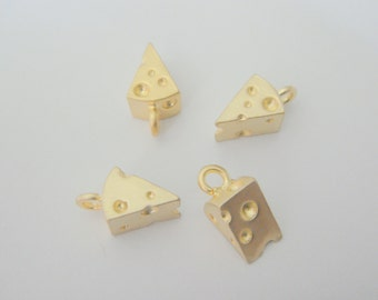 Wholesale Pendants, Matte Gold Piece of Cheese Charms/ Pendants/ Connectors, 2 pc, SW83774