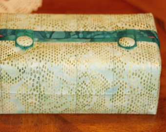 Fitted Tissue Box Cover fits Kleenex brand boxes. Light teal cotton batik with dark teal trim. Made by Barb Lynn.