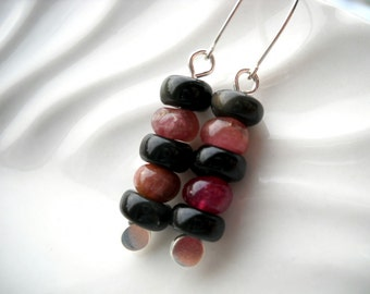 Black obsidian and pink tourmaline earrings: Gathered on the Banks - Gifts under 20, sterling silver, tourmaline jewelry, obsidian earrings