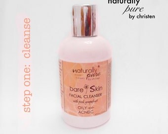 Cleanse OILY/ACNEIC - bareSkin: 100% Natural Facial Cleanser / Pink Grapefruit / Problematic and Acne / Naturally Pure by Christen