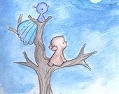 Nursery Art Print-Bear and Peacock wait for Moon-Various sizes.Gender Neutral art print