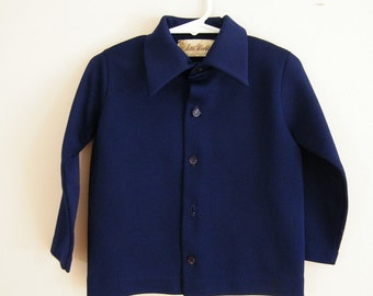 Vintage 1970s Boys Shirt / Dark Blue / Collared Shirt / 4T