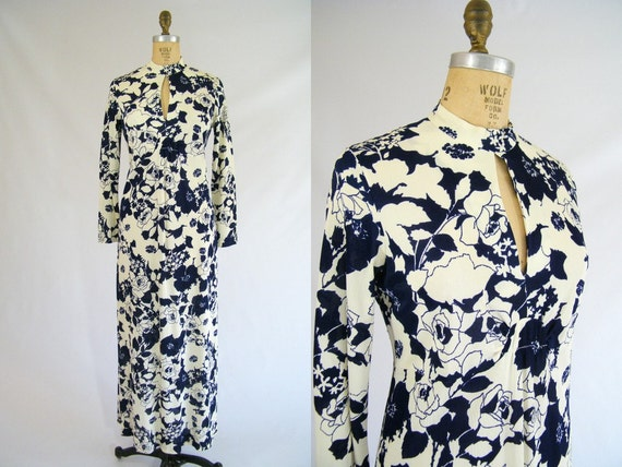 Vintage 1960s Maxi Dress / Blue Floral / Long Sleeves / Medium