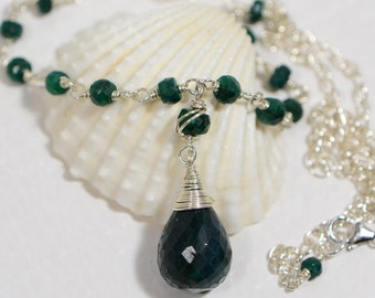 Emerald Necklace Wire Wrapped Necklace Gemstone Necklace Birthstone For May -wire jewelry