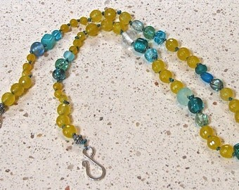 Yellow & Blue Hand-Knotted Bead Necklace