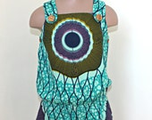 African Print girl's pinafore jumpsuit shorts in a turquoise abstract design