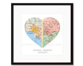 Heart Map Art Long Distance Relationship Gift, Custom Wedding Gift, For Couples, Unique Engagement Gift, Anniversary, Personalized Map Art