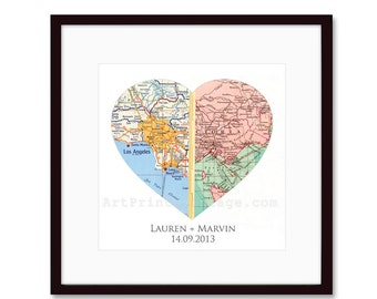 Heart Map Engagement Gifts, Wedding Gifts, For Couples, Custom Map, Anniversaries, Long Distance Relationship, Personalized Map print