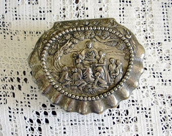 Vintage Occupied Japan  Rococo Shell Shaped Style Ornate Metal Trinket Jewelry Box Jesus Christ & Children Hinged Lid Crisp Detail
