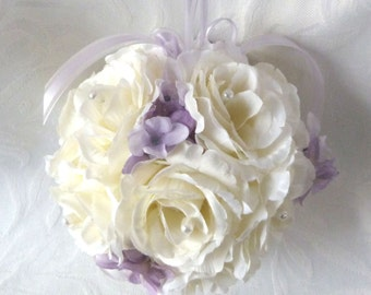 Creme rose and lavender hydrangea kissing ball rose pomander wedding flower ball