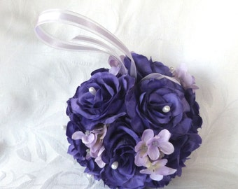 Purple rose and lavender hydrangea kissing ball rose pomander wedding flower ball