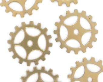 Steampunk Gears Raw Brass Gold 24 Gauge Assemblage Altered Art Lot 19mm- Qty 6 Made in the USA