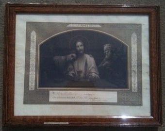 Vintage French framed Communion certificate religion dated 1934 / English Shop