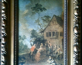Vintage French Rural Party Scene Print On Fabric circa 1960's / English Shop