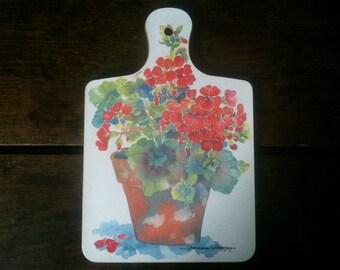 Vintage English Decorated Flowers Pot Charmaine Williamson Bread Cheese Board circa 1970's / English Shop