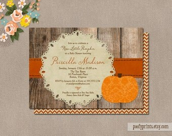 Little Pumpkin Baby Shower Invitations - DIY Printable Rustic Autumn Shower Invitations - Priscilla Collection
