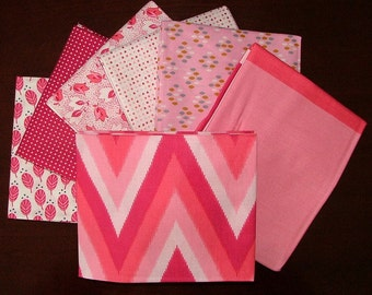 Color Me Happy Fat Quarter Bundle of 6 and 1 HALF YARD in Pink by V & Company for Moda