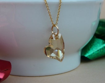 Swarovski heart pendant - Golden Shadow Swarovski Devoted 2 U Heart pendant - Gold filled chain - Free shipping to Canada & USA