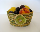 Harvest Coiled Rope  Basket  Bowl  Scrappy
