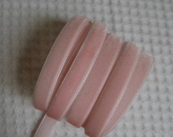 3 Yards Baby Pink Velvet Ribbon 3/8 inch - 22