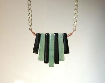 SALE Modern Art Deco Style Necklace - Onyx, Green Aventurine, Brass, Copper / Mint Green Black Vintage Inspired Earthy Unique Linear Jewelry