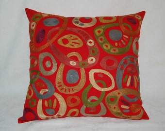 Beautiful   handmade fergana abstract  buble pattern Suzani Pillow Cover embroidered   cushion cover original silk 19.5x19.5 inch
